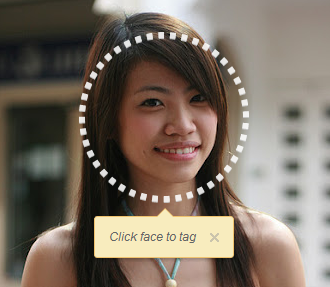 Image of girl with icon around face to demonstrate the tag feature on social networks
