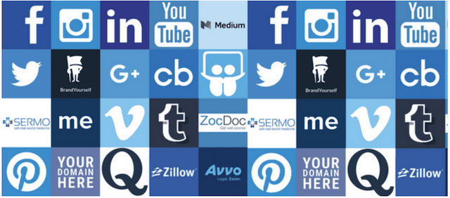 Logos of types of social media profiles
